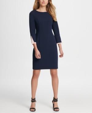 DKNY Chiffon Peek-a-boo Cuff Sheath Dress