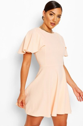 boohoo Flute Sleeve Skater Dress