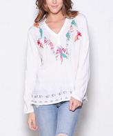 Paparazzi Cream Leaf Embroidered V-Neck Tunic