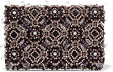 Oscar de la Renta Embellished Satin Clutch - Purple