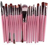 DAXUN 20 Pcs Makeup Brush Set, Powder Foundation Eyeshadow Eyeliner Lip Cosmetic Brushes Make-up Toiletry Kit (Pink & Coffee) Ideal for Pro & Daily Use