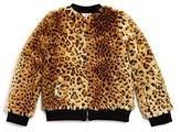 Design History Girls' Cheetah Faux Fur Bomber Jacket - Big Kid