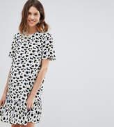 Asos Design Maternity Drop Waist Mini Dress In Animal Print