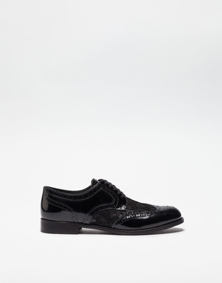 Dolce & Gabbana Leather Derby Shoe With Lace Detail