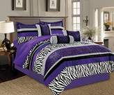 7 Piece Bright Purple Black White Zebra Leopard Micro Fur Comforter set Full Size Bedding - Teen, Girl, youth, Tween, Children's Room, Master Bedroom, Guest Room