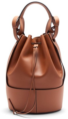 Loewe Balloon Anagram-logo Drawstring Leather Backpack - Tan
