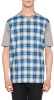 Lanvin Plaid Combo Short-Sleeve T-Shirt, Gray/Blue