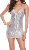 LAPAYA Women's Mini Dress Sequin Halter Metallic Sleepwear Chemise Sexy Lingerie