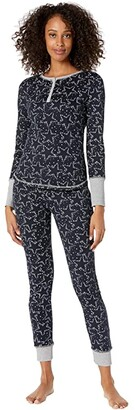 Splendid Cozy Thermal PJ Set (Festive Sky/Navy Blazer) Women's Pajama Sets