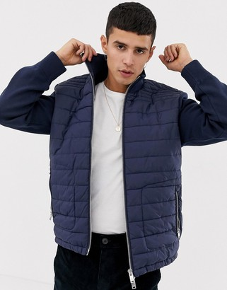 Selected Homme+ Quilted Jacket With Knitted Sleeves