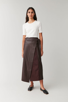 Cos Long Leather Wrap Skirt