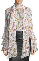 Prabal Gurung Scarf-Neck Long-Sleeve Floral-Print Silk Blouse