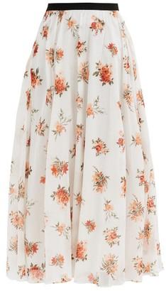 Emilia Wickstead Alula Floral-print Cotton Voile Skirt - White Print