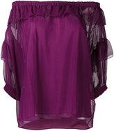 Sonia Rykiel off-shoulder ruffle top - women - Silk - 38