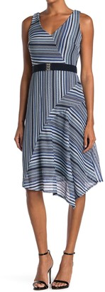 Gabby Skye Striped Sleeveless Belted Midi Dress
