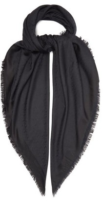 Saint Laurent monogram Silk-blend Scarf - Black