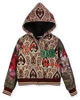 Dolce & Gabbana Brocade Zip-Up Hoodie, Size 8-12