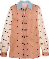 Natasha Zinko Appliquéd tulle and organza shirt