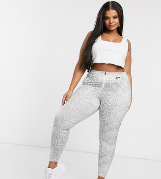 Nike Plus white snake print high waist leggings