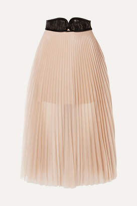 Christopher Kane Lace-trimmed Pleated Chiffon Skirt - Beige