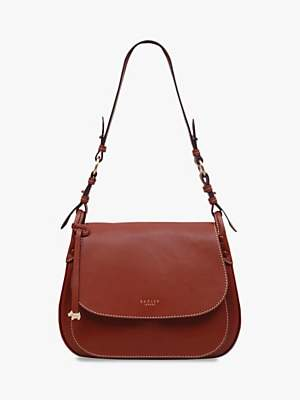 Radley Harper Road Leather Large Flapover Shoulder Bag, Brown