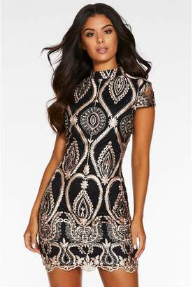 Quiz Rose Gold Sequin Embroidered High Neck Bodycon Dress
