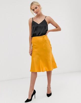 UNIQUE21 bias cut midi skirt with belt-Yellow