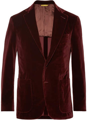 Canali Burgundy Kei Slim-Fit Cotton-Velvet Blazer