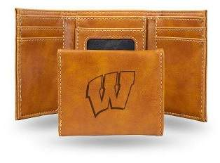 NCAA Wisconsin Badgers Laser Engraved Brown Leather Trifold Wallet