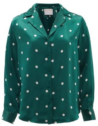 S.a.r.k - Valium Polka-dot Silk Shirt - Green