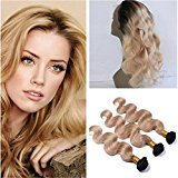 Tony Beauty Hair Two Tone 1B/27 Honey Blonde Ombre 360 Full Lace Frontal With Bundles 4Pcs Lot Body Wave Light Brown Ombre Virgin Human Hair Wefts With 360 Band Lace Closure (20 with 22 24 26)
