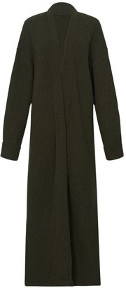 The Frankie Shop Rib Knit Full Length Wool Blend Cardigan