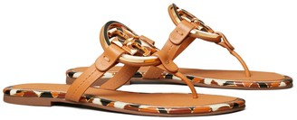 Tory Burch Miller Enamel-Logo Sandal, Leather
