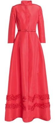 Carolina Herrera Belted Appliqued Silk-faille Gown
