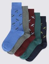 Marks and Spencer 5 Pairs of Cotton Rich Spitfire Socks
