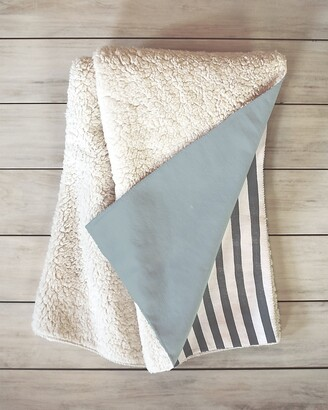 Express Deny Designs Watercolor Stripes Grey Sherpa Throw Blanket