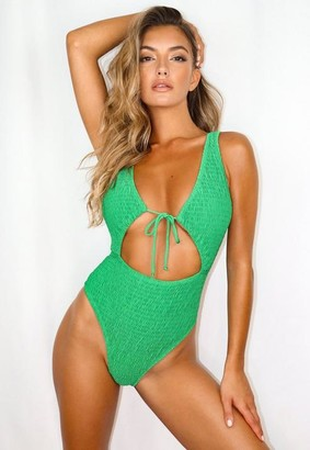 Missguided Green Crinkle Tie Front Cut Out Swimsuit