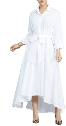 VERWIN Women Long Sleeve Loose Elegant Maxi Dress Button Down Up Shirt Long Dress with Pockets and Belts White L