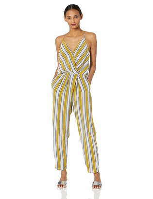 ASTR the Label Women's Sterling Sleeveless WRAP TOP Striped Slim Jumpsuit Moss Multi