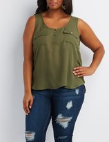 Charlotte Russe Plus Size Flap Pocket Tank Top
