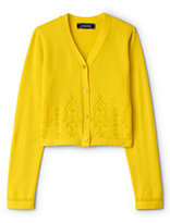 Lands' End Toddler Girls V-Neck Broderie Anglaise Sophie Cardigan-Yellow Broderie Anglaise