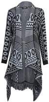 Girlzwalk ® Women Diamond Aztec Tassel Waterfall Cardigan