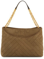 Tory Burch Alexa Quilted Suede Tote Bag, Banana Leaf