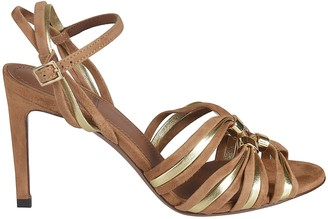 L'Autre Chose Gathered Front Ankle Strap Sandals