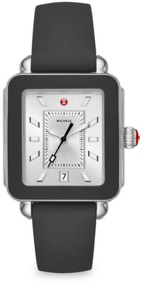 Michele Deco Sport Stainless Steel & Silicone Strap Watch