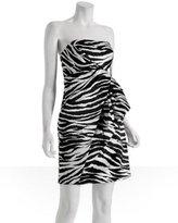 A.B.S. black white zebra printed sateen dress