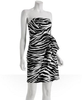 ABS by Allen Schwartz black white zebra printed sateen dress