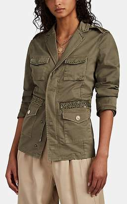 Mason Women's Embellished Cotton Military Jacket - Green