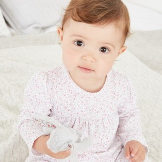 The White Company Organic Cotton Ditsy Floral Frill Pyjamas, White, 0-3mths