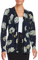 Lafayette 148 New York Floral Open Front Cardigan
